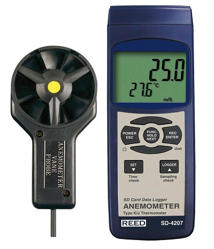 Reed Instruments SD-4207-NIST Data Logger Anemometer Thermometer Air Velocity Meter SD4207-NIST