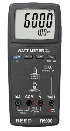 REED Instruments R5000 True RMS Watt Meter, 6000W (Replaced DW-6060)
